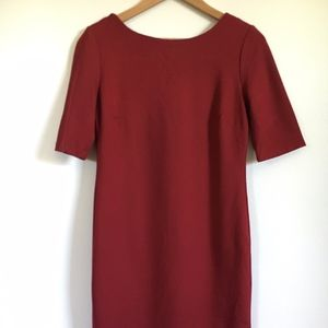 Short Sleeve Knee Length Red/Maroon Dress